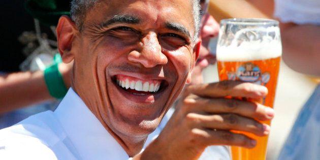 U.S. President Barack Obama toasts with beer as he visits Kruen, southern Germany, June 7, 2015. Leaders...