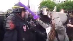 Heurtée par un policier, cette manifestante «explose»!