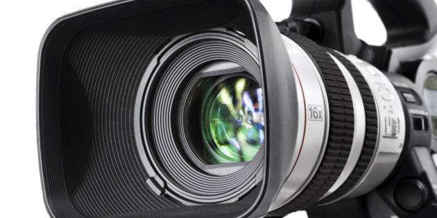Close-up shot of a lens from high-end DV