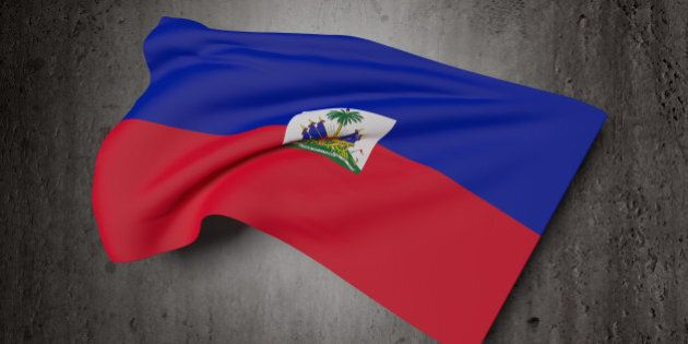3d rendering of Republic of Haiti flag waving on a dirty