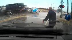 Sa voiture défoncée sous ses yeux par une locomotive