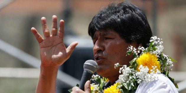 Bolivia's President Evo Morales speaks during the
