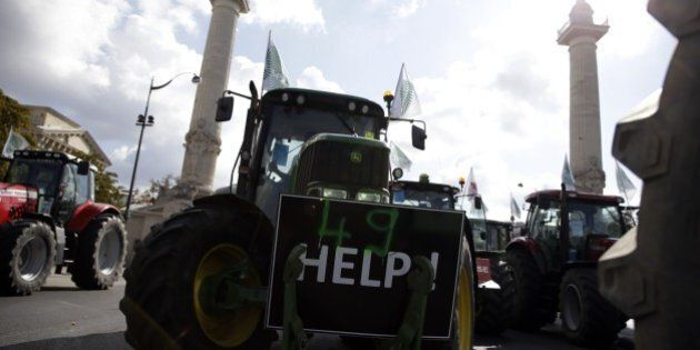 Farmers arrive in Place de la Nation in Paris to take part in a national demonstration on September 3,...
