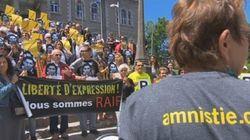 Des écoliers demandent la libération de Raif