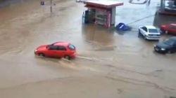 Une rue inondée en moins de cinq minutes