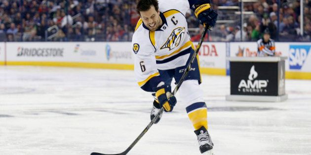 COLUMBUS, OH - JANUARY 24: Shea Weber #6 of the Nashville Predators and Team Toews takes a shot during...