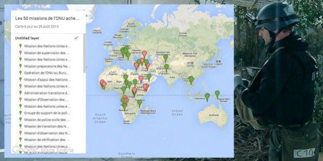 Les 50 missions de l'ONU achevées entre 1956 et 2013 (CARTE