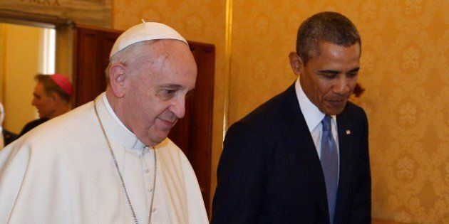 Pope Francis (L) meets with US President Barack Obama on March 27, 2014 at the Vatican. The meeting at...