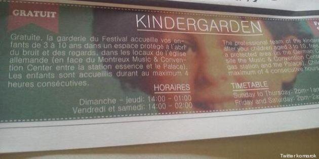 Quand le Montreux Jazz Festival fait la promotion de sa garderie avec une photo du petit