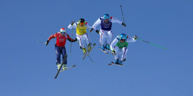 SOCHI, RUSSIA - FEBRUARY 20:  (R-L) JF Chapuis, Arnaud Bovolenta, Jonathan Midol of France and Brady Leman of Canada make a jump in the final during the Mens Ski Cross Freestyle Skiing at Rosa Khutor Extreme Park on February 20, 2014 in Sochi, Russia.  (Photo by Julian Finney/Getty Images)