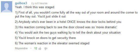 Des caméras de surveillance filment un homme nu bloqué à l'extérieur de sa chambre d'hôtel. Un faux ?