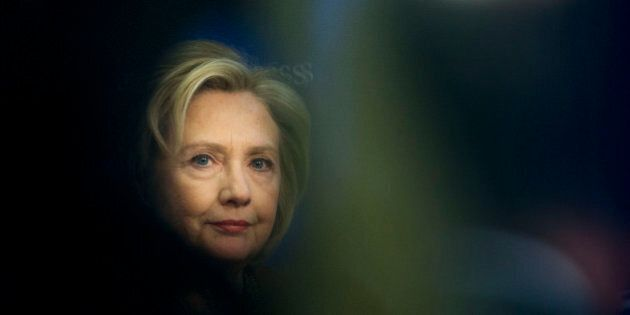 Former Secretary of State Hillary Rodham Clinton, at an event hosted by the Center for American Progress (CAP) and the America Federation of State, County and Municipal Employees (AFSCME), in Washington, Monday, March 23, 2015. (AP Photo/Pablo Martinez Monsivais)