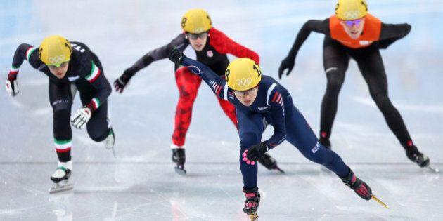 SOCHI, RUSSIA - FEBRUARY 13: (L-R) Arianna Fontana of Italy, Marianne St. Gelais of Canada, Seung-Hi...