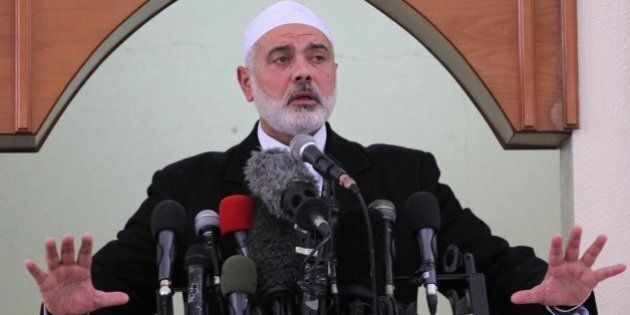GAZA CITY, GAZA MARCH 06: Senior Hamas leader Ismail Haniyeh gives a speech before the Friday prayer...