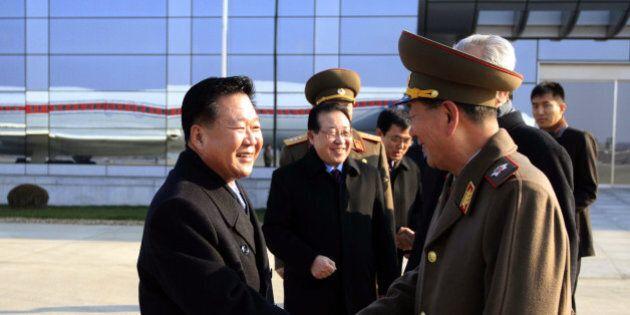North Korean leader Kim Jong Un's special envoy Choe Ryong Hae, left, a senior member of the Presidium...