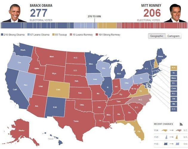 Élections américaines: Barack Obama conserve l'avantage sur Mitt Romney dans les