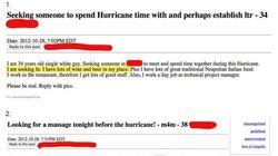 «Cherche amant pour passer l'ouragan
