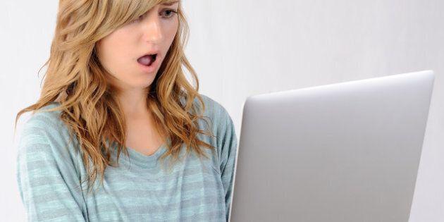 girl surprised by website....