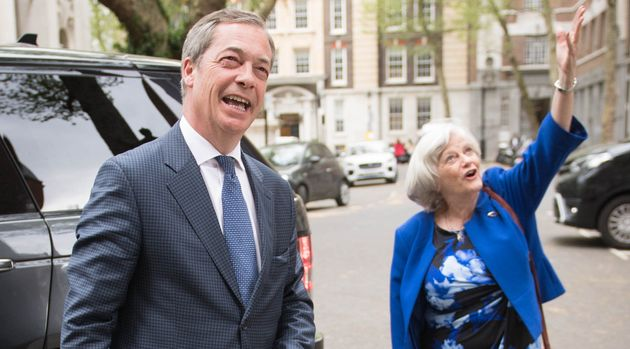 Brexit Party leader Nigel Farage with MEP candidate Ann