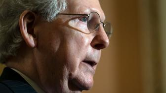 Senate Majority Leader Mitch McConnell, R-Ky., speaks to reporters at the Capitol in Washington, Tuesday, April 30, 2019. (AP Photo/J. Scott Applewhite)