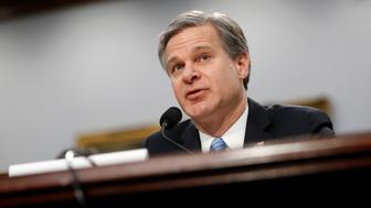 FBI Director Christopher Wray testifies before a House Appropriations subcommittee hearing on the bureau's budget, Thursday, April 4, 2019, on Capitol Hill in Washington. (AP Photo/Patrick Semansky)