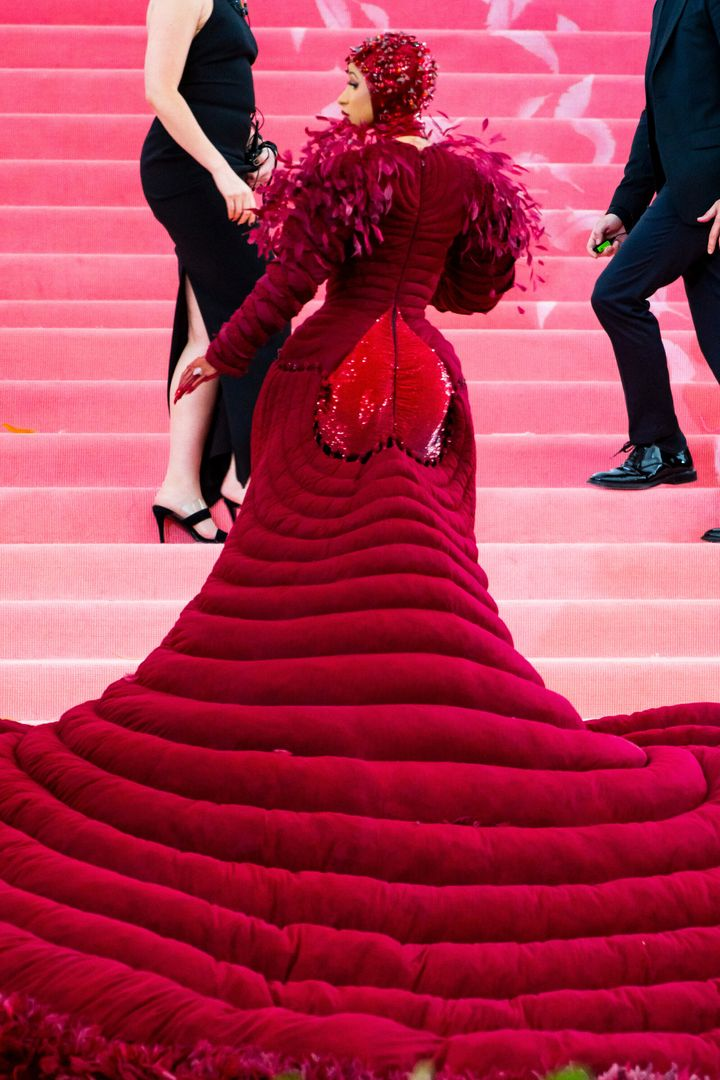 """A shot of the """"booty"""" of the dress."""