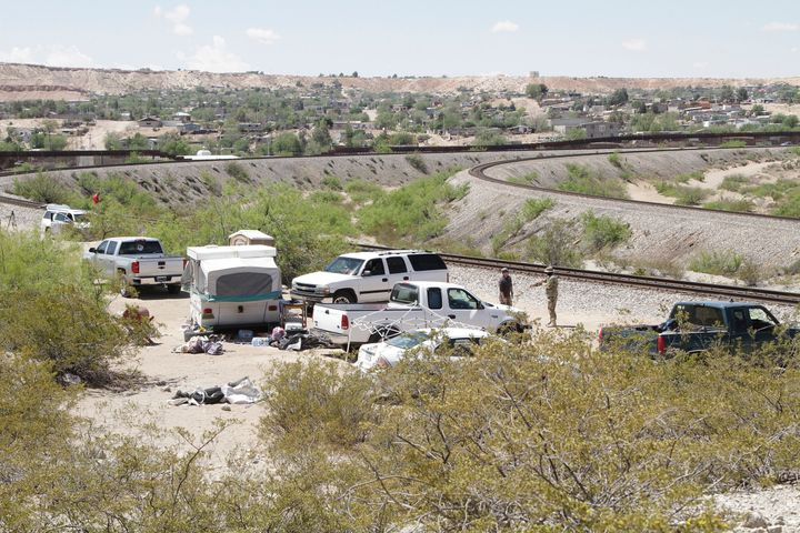 The camp of the United Constitutional Patriots, a citizen immigration patrol, near the U.S.-Mexico border on April 23. Member