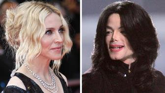 (FILES): These recent file photographs show US pop music icons Madonna and Michael Jackson, both who will reach the half-century mark, aka age 50, in August 2008. Madonna's birthday is 16 August, and Jackson's is 29 August.    AFP PHOTO / Files     (Photo credit should read -/AFP/Getty Images)