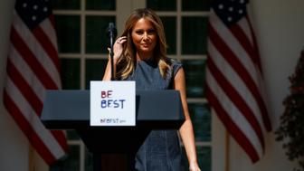 "First lady Melania Trump arrives to speak during a program for her ""Be Best"" initiative in the Rose Garden of the White House, Tuesday, May 7, 2019, in Washington. (AP Photo/Evan Vucci)"