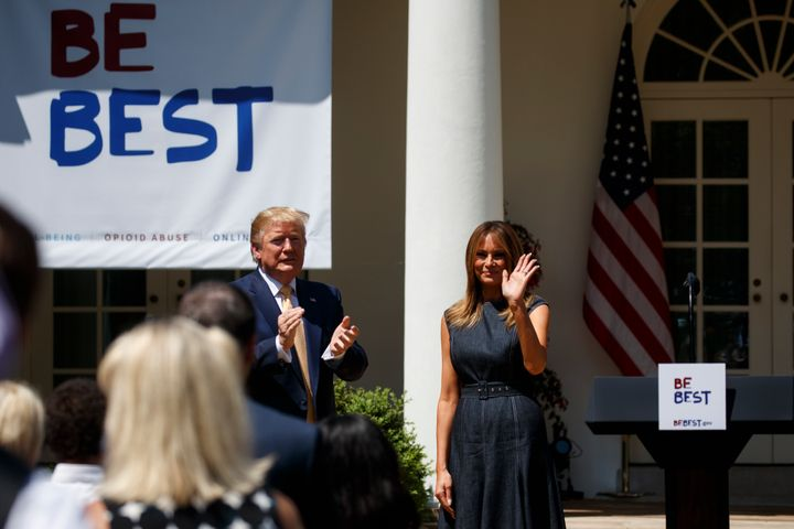 President Donald Trump applauds first lady Melania Trump at the conclusion of a program for the first lady's Be Best initiati