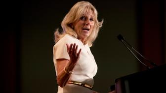 Former Second Lady of the United States Jill Biden speaks before her husband, former Vice President Joe Biden, takes the stage to speak to the International Association of Firefighters at the Hyatt Regency on Capitol Hill in Washington, Tuesday, March 12, 2019, amid growing expectations he'll soon announce he's running for president. (AP Photo/Andrew Harnik)