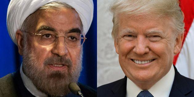 Hasan Rohani y Donald Trump, en sendas imágenes de