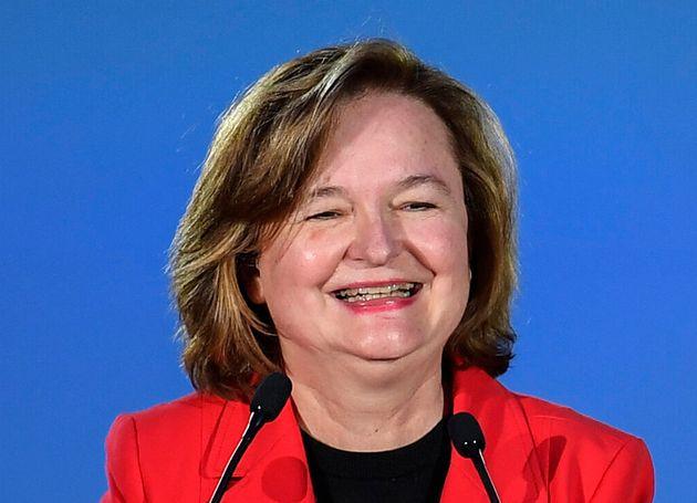 Nathalie Loiseau lors d'un meeting pour les européennes à Caen le 6 mai