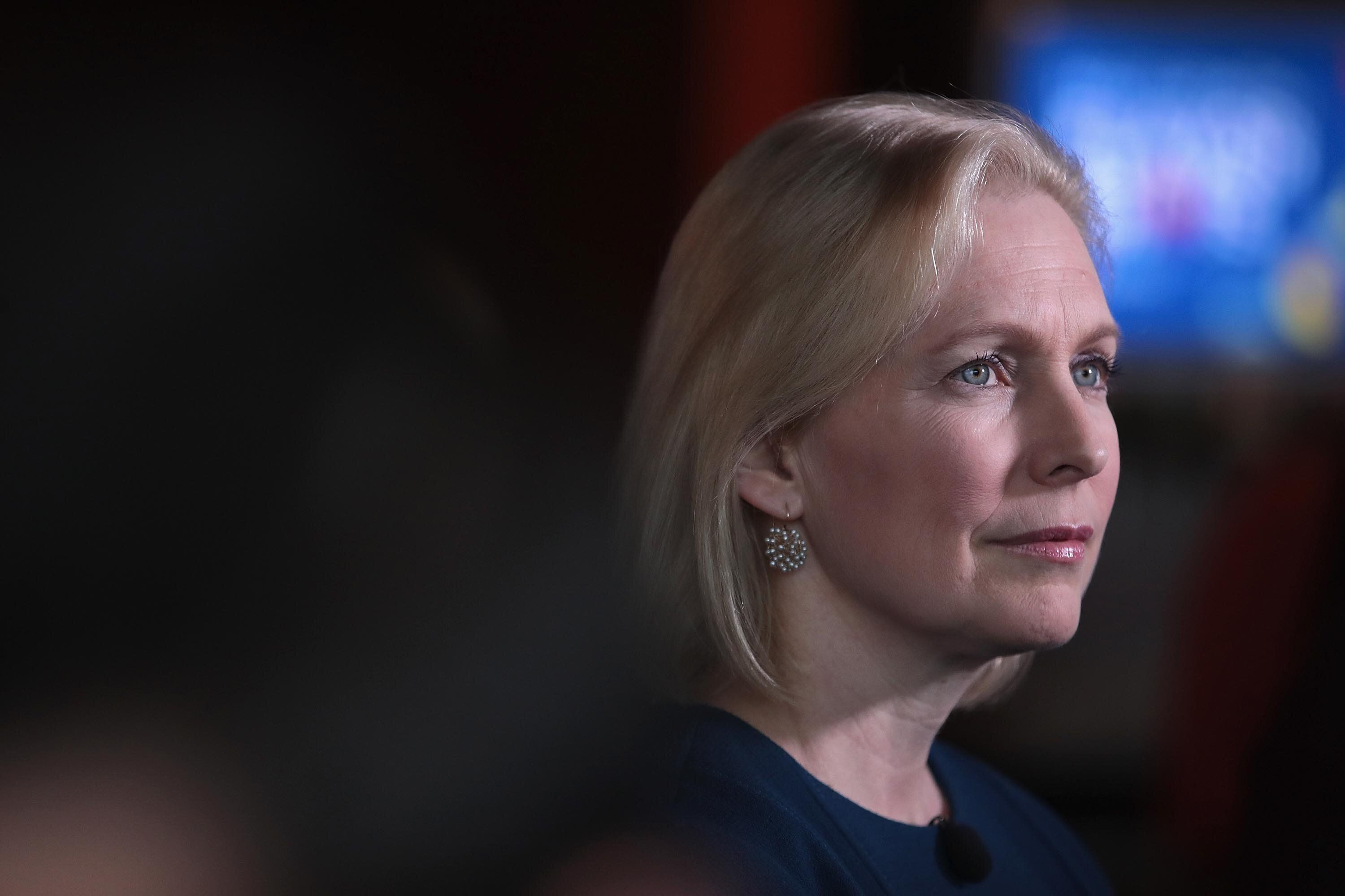 DES MOINES, IOWA - APRIL 17: Democratic presidential candidate Sen. Kirsten Gillibrand (D-NY) speaks to guests during a campaign event with Drake University Democrats at Papa Keno's restaurant on April 17, 2019 in Des Moines, Iowa. Gillibrand has campaign stops scheduled in the state through Friday.   (Photo by Scott Olson/Getty Images)