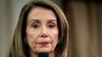 Speaker of the House Nancy Pelosi, D-Calif., speaks to a bi-partisan group during her visit to the Institute of Politics and Global Affairs at Cornell University, Tuesday May 7, 2019, in New York. (AP Photo/Bebeto Matthews)