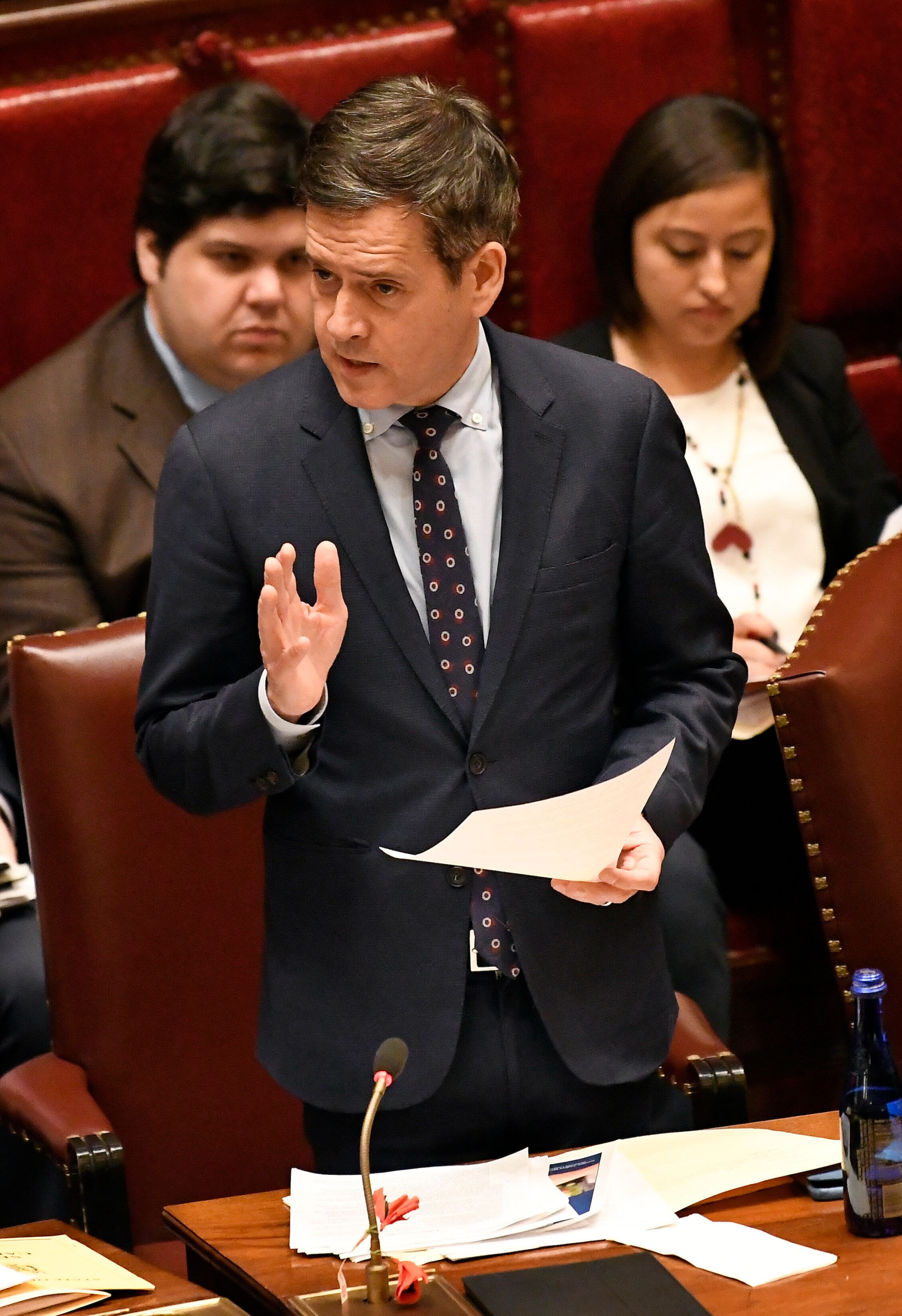 New York Sen. Brad Hoylman, D-New York, explains his vote in the affirmative for the Child Victims Act in the Sanate Chamber at the state Capitol on Monday, Jan. 28, 2019, in Albany, N.Y. (AP Photo/Hans Pennink)