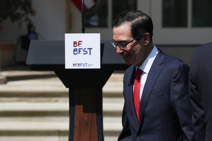 U.S. Treasury Secretary Steven Mnuchin arrives at a White House event Tuesday to celebrate first lady Melania Trump's ""