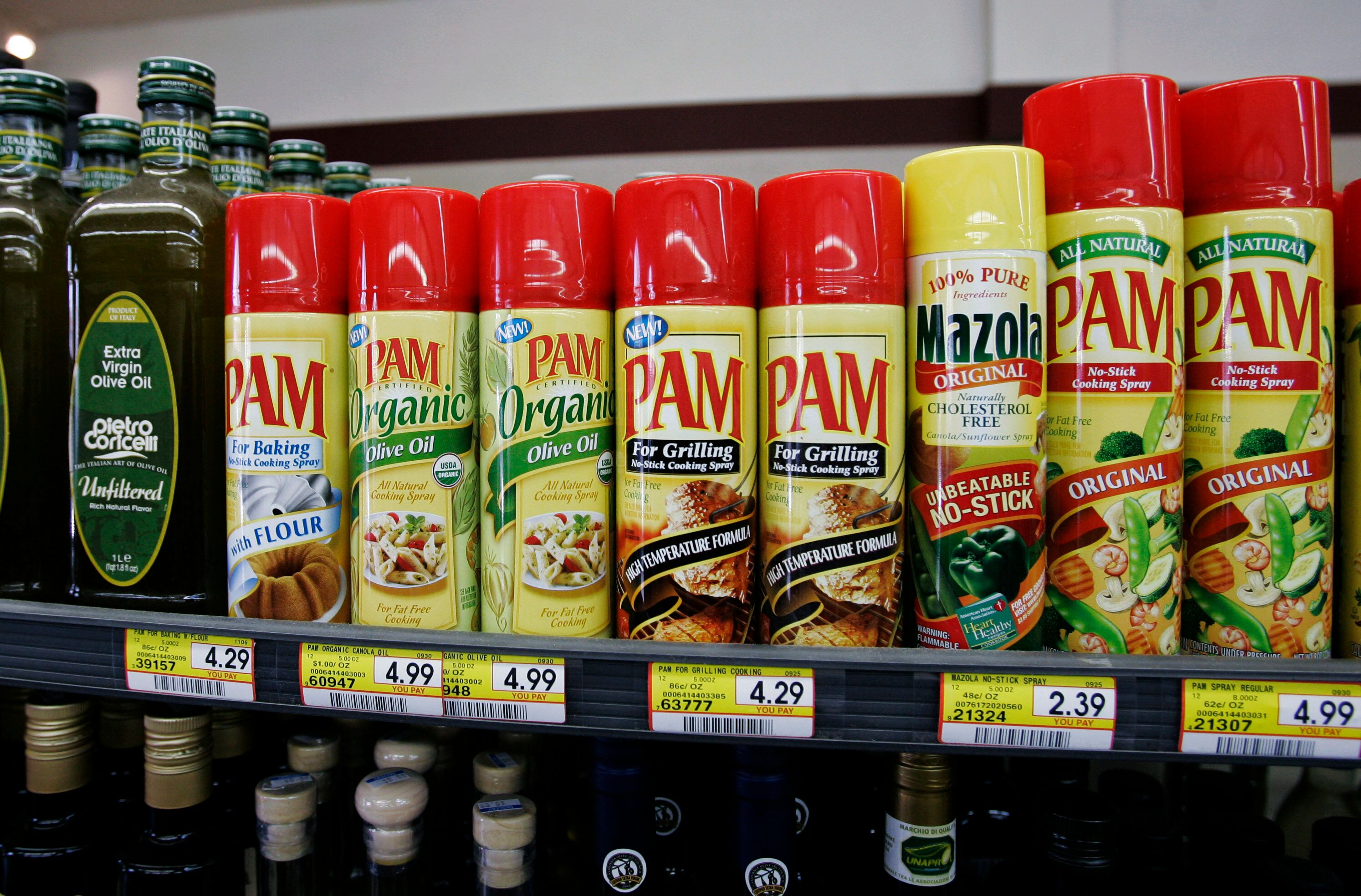 PAM cooking spray, made by ConAgra Foods, is on display at a market in Palo Alto, Calif., Wednesday, Dec. 20, 2006. Packaged-food maker ConAgra Foods Inc. said fiscal second-quarter income grew 44 percent as the company sold off business units and improved margins. (AP Photo/Paul Sakuma)