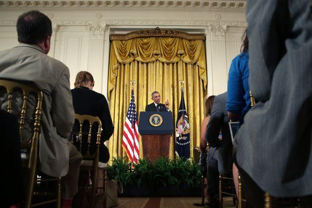 이란 핵협정은 버락 오바마 전 미국 대통령의 대표적인 '작품' 중 하나였다. 사진은 오바마 대통령이 기자회견을 열어 이란 핵협정에 대해 브리핑하는 모습. 미국, 워싱턴DC. 2015년 7월15일.