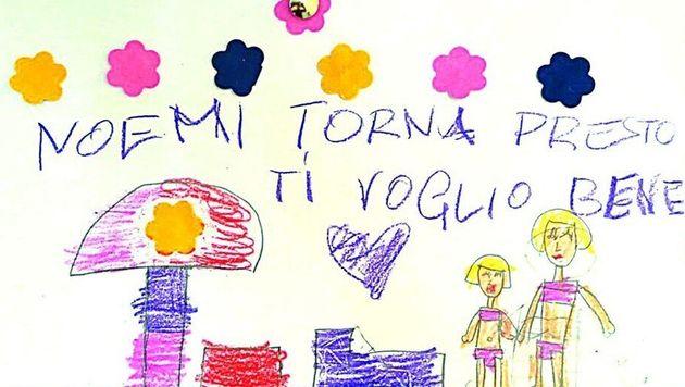 I compagni di asilo scrivono a Noemi: