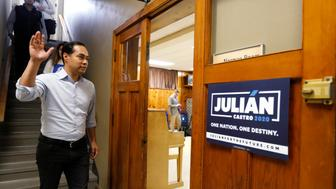 Democratic presidential candidate former U.S. Secretary of Housing and Urban Development Julian Castro arrives at a meeting with Iowa State University students and Story County democrats, Tuesday, May 7, 2019, in Ames, Iowa. (AP Photo/Charlie Neibergall)