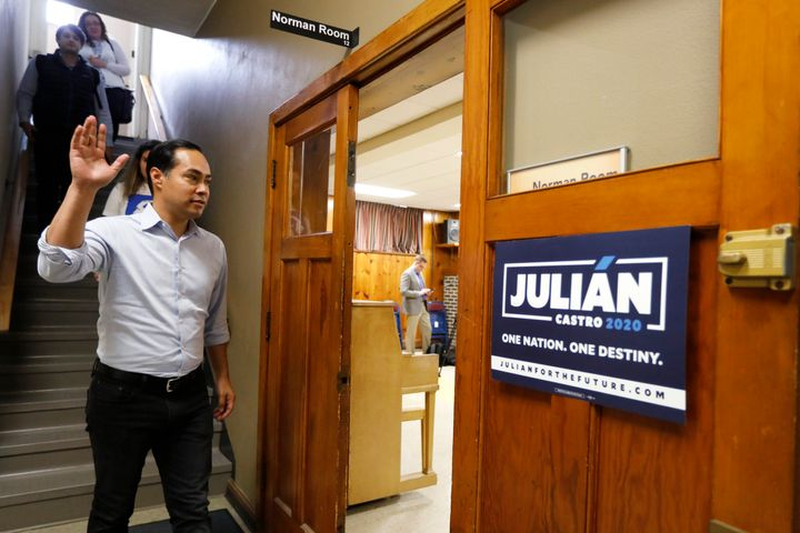 Democratic presidential candidate Julián Castro arrives at a meeting with Iowa State University students in May. The f