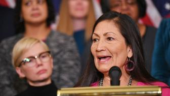 Representative Deb Haaland, D-NM, speaks at an event to celebrate the Paycheck Fairness Act on Equal Pay Day in the Rayburn Room of the US Capitol in Washington, DC on April 2, 2019. (Photo by MANDEL NGAN / AFP)        (Photo credit should read MANDEL NGAN/AFP/Getty Images)