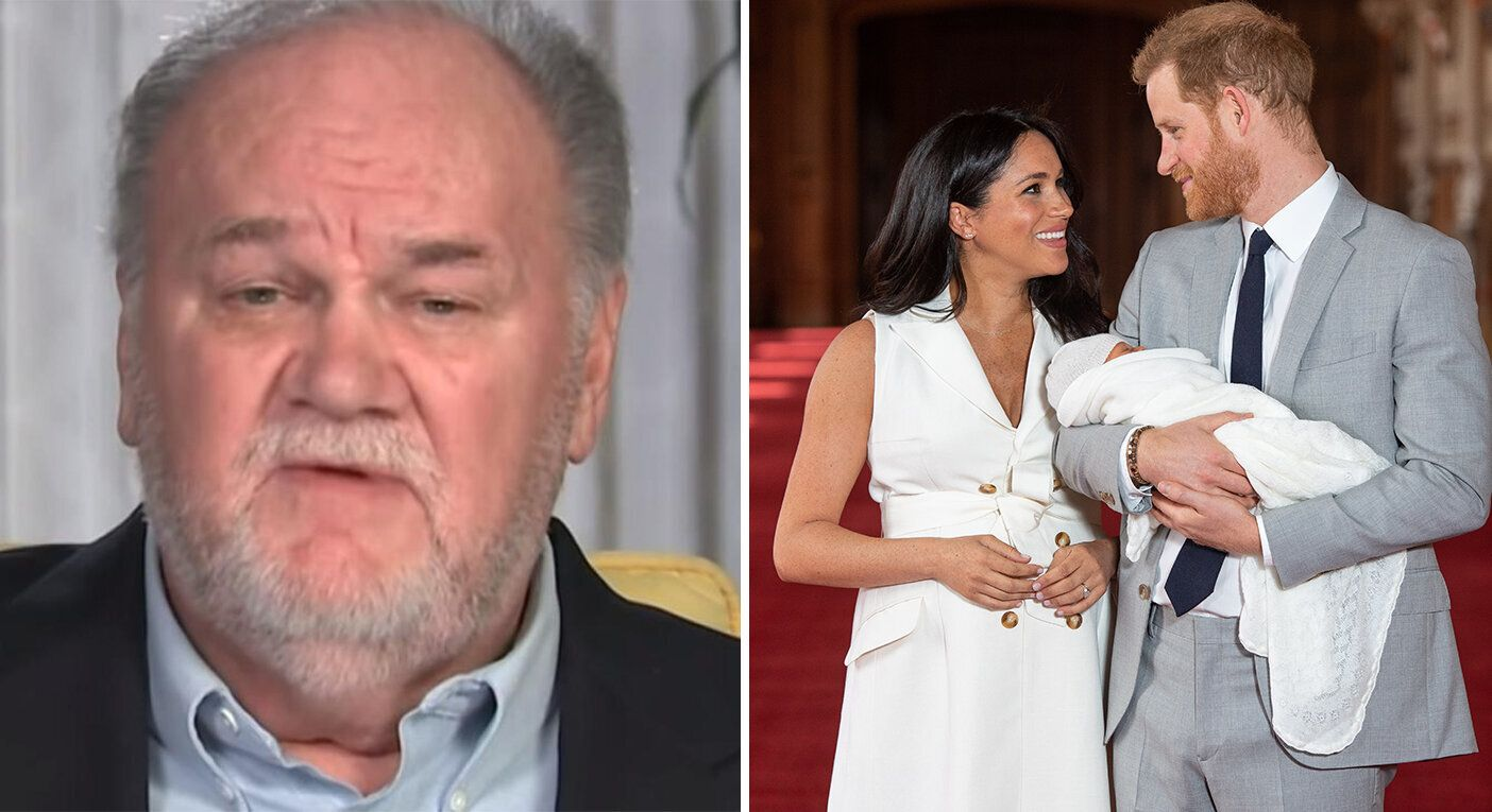 Thomas Markle (appearing on 'Good Morning Britain') and Meghan, Harry and their newborn son [Photos: GMB/PA]