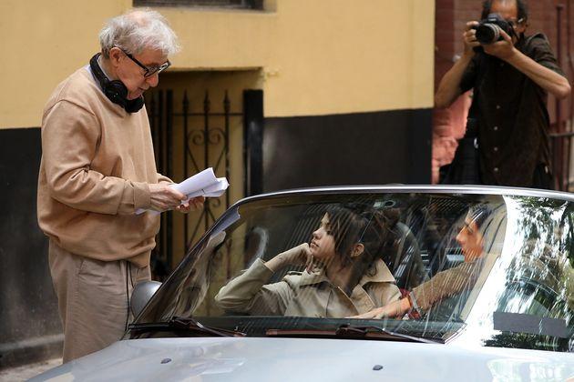 Woody Allen y Selena Gomez, en el rodaje de 'Día de lluvia en Nueva
