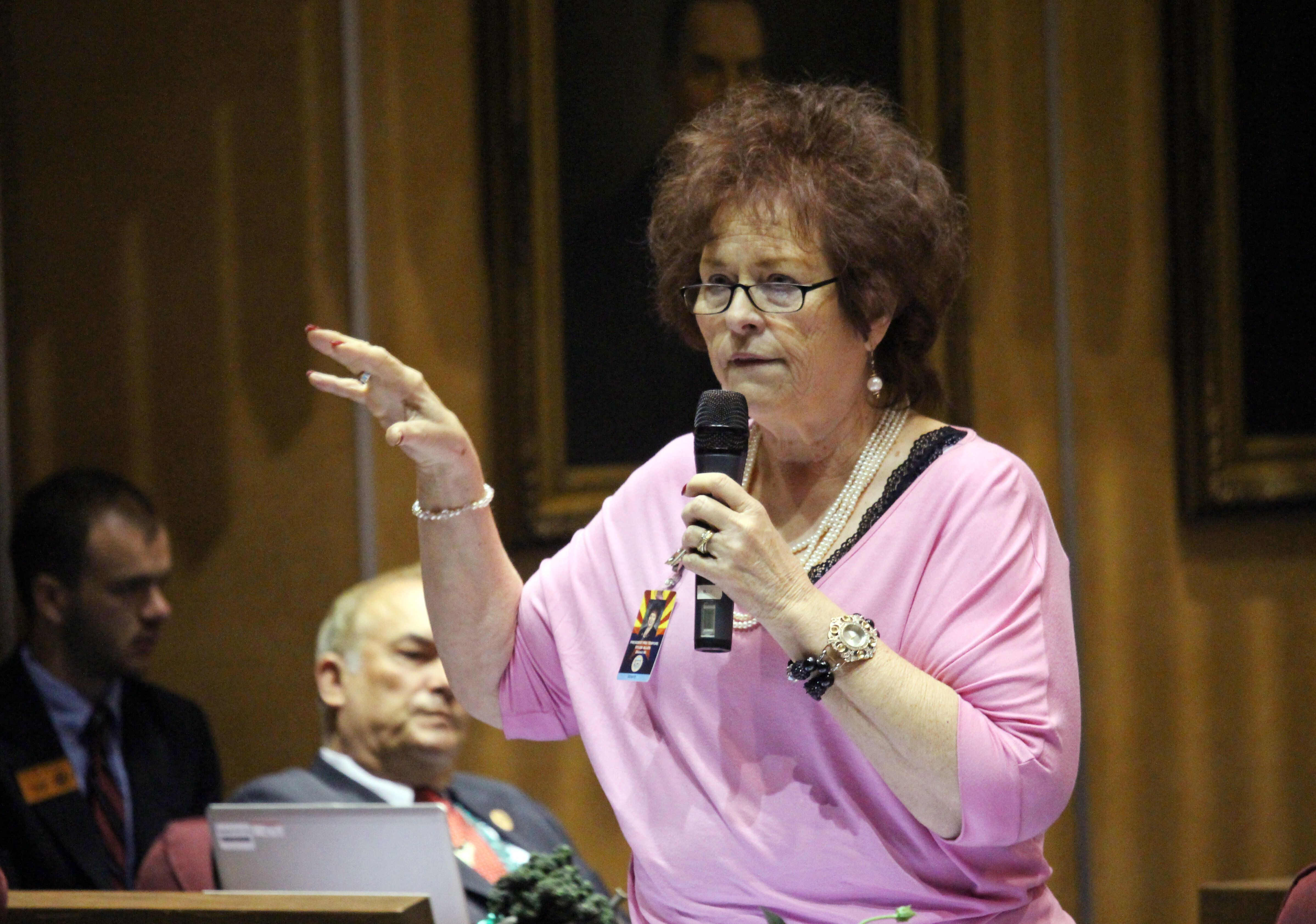 Republican Arizona state Sen. Sylvia Allen explains her opposition to a children's health insurance bill that was headed to approval on Friday, May 6, 2016 at the Capitol in Phoenix. The passage and Republican Gov. Doug Ducey's pledge to immediately sign it means the state will join 49 others with a version of the federal Children's Health Insurance Program.(AP Photo/Bob Christie)