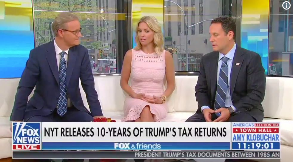"""The hosts of """"Fox & Friends"""" said they were impressed by the size of Donald Trump's business losses."""