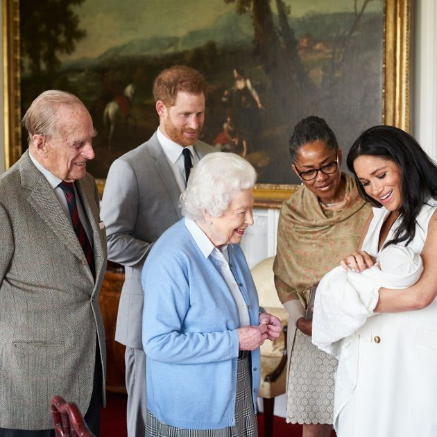 The royal baby with some of his extended