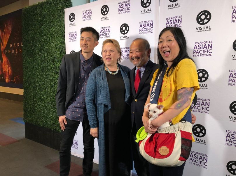 (Left to right) JB Quon, Amy Hill, Clyde Kusatsu and Margaret Cho reunite at the Los Angeles Asian Pacific Film Festival.