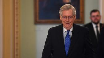 Senate Majority Leader Mitch McConnell of Ky., walks to his office on Capitol Hill in Washington, Tuesday, May 7, 2019. (AP Photo/Susan Walsh)